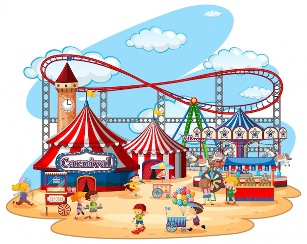 Parque temático de feria de diversión en blanco Vector Premium