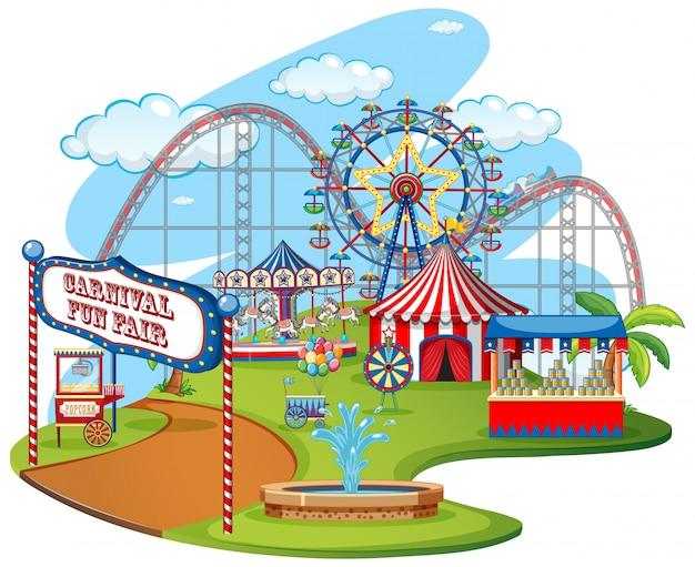 Parque temático feria de diversión vector gratuito