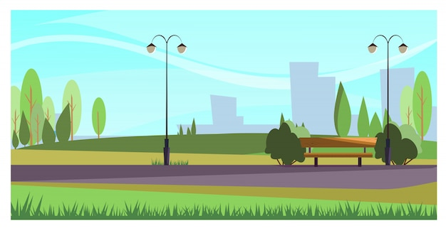 Parque de verano con luces de calle. vector gratuito