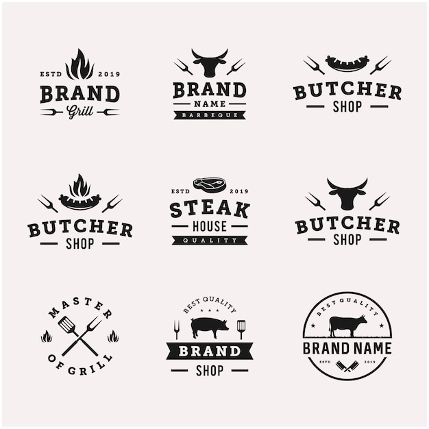 Parrilla / barbacoa parrilla comida vector logo plantilla de diseño Vector Premium
