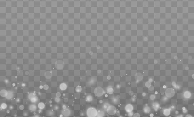 Partículas de polvo mágico espumoso. efecto bokeh. el polvo de estrellas chispea en una explosión. efecto de luz especial de brillo de chispas blancas. fondo de navidad de textura brillo blanco. Vector Premium
