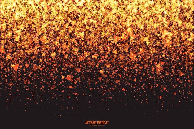 Partículas triangulares de brillo dorado brillante vector de fondo abstracto Vector Premium