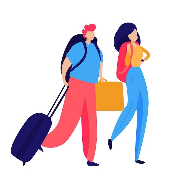 Pasajeros con equipaje vector gratuito