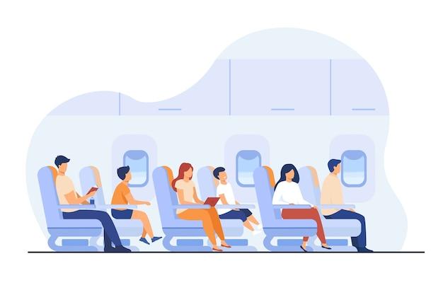 Los pasajeros que viajan en avión aislado ilustración vectorial plana. personajes de dibujos animados en avión o tablero de avión. vector gratuito