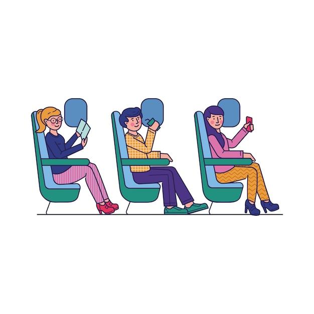 Pasajeros que viajan en avión ilustración plana vector gratuito