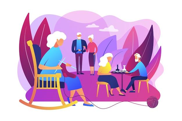 Pasatiempo de los pensionistas en el hogar de ancianos. pareja de ancianos jugando al ajedrez. actividades para personas mayores, estilo de vida activo para personas mayores, concepto de gasto de tiempo de personas mayores. vector gratuito
