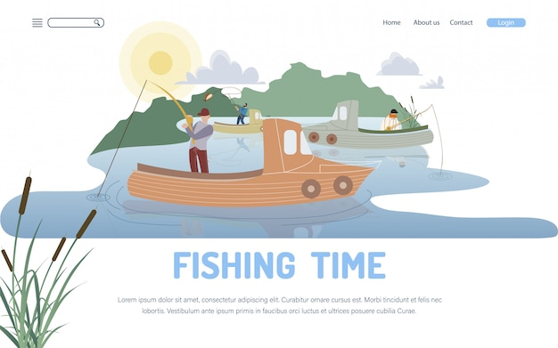 Pasatiempo de pesca y plantilla de página de aterrizaje de ocupación Vector Premium