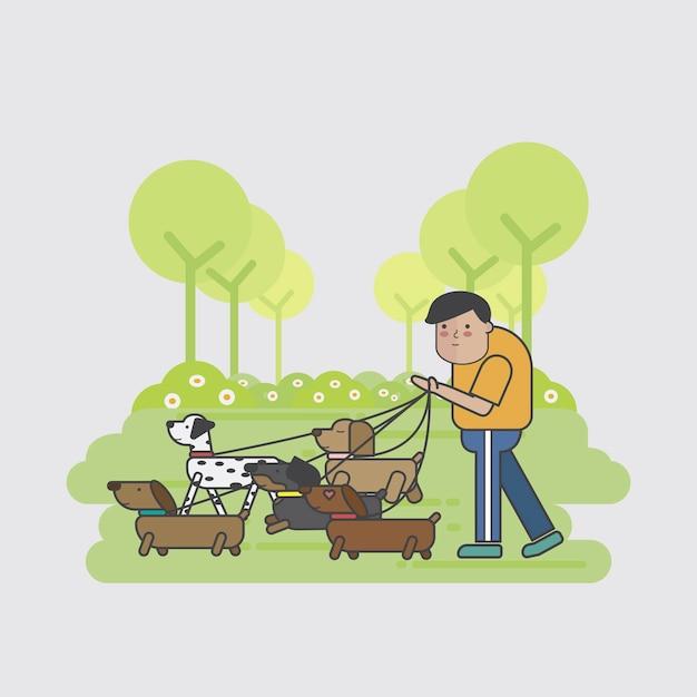 Paseador de perros caminando un paquete de perros vector gratuito