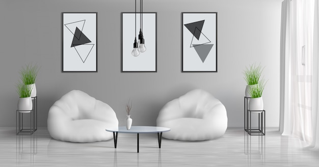 Pasillo de la casa, apartamento moderno, sala de estar soleada, 3d vector realista interior con mesa de café cerca de dos sillas de haz en el centro de la habitación, pinturas, marcos de fotos en la pared gris, ilustración de macetas vector gratuito