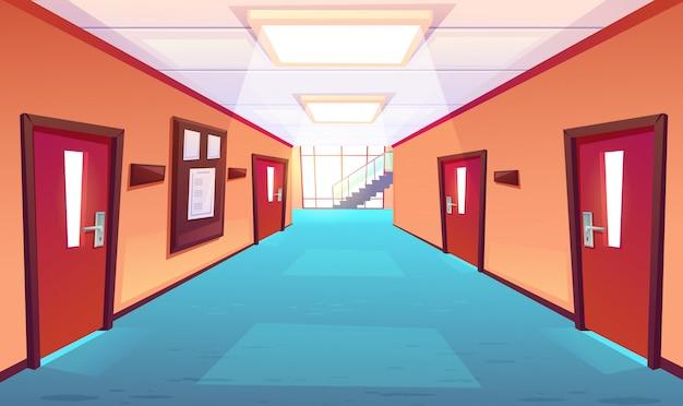Pasillo de la escuela, pasillo del colegio o universidad vector gratuito
