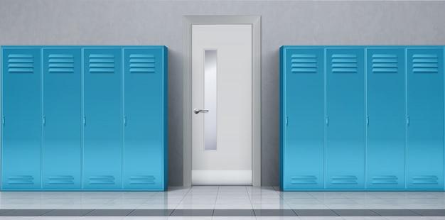 Pasillo de la escuela con taquillas azules y puerta cerrada vector gratuito