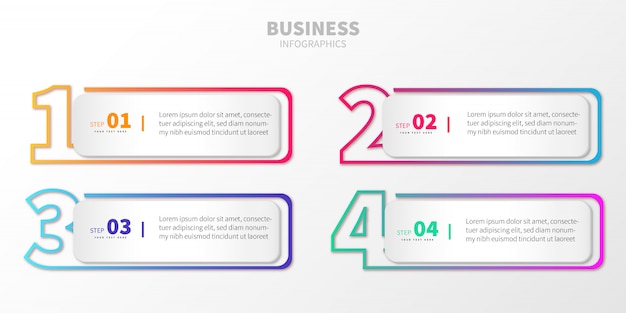 Paso colorido negocio infografía con números vector gratuito