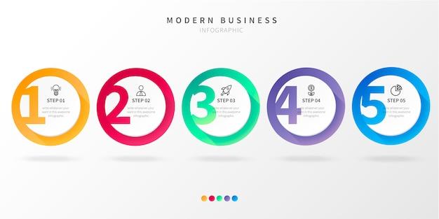 Paso moderno infografía de negocios con números vector gratuito