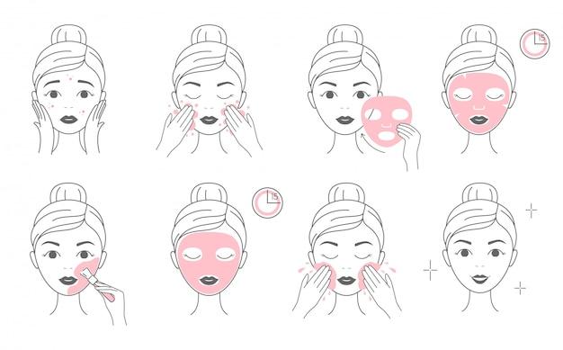 Pasos para aplicar la mascarilla cosmética facial y la mascarilla de arcilla. Vector Premium