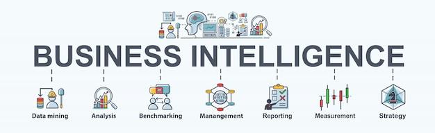 Pasos de business intelligence para plan de negocios, minería de datos, análisis y estrategia. Vector Premium