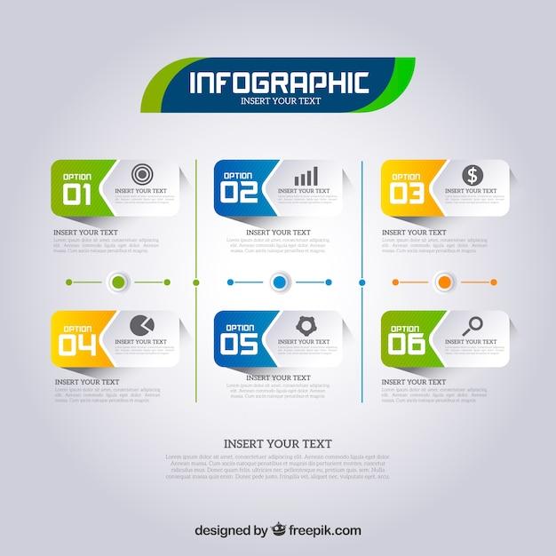 Pasos de infografía en estilo realista Vector Gratis