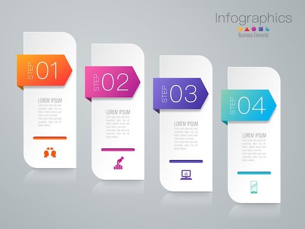 Pasos elementos de infografía empresarial para la presentación Vector Premium