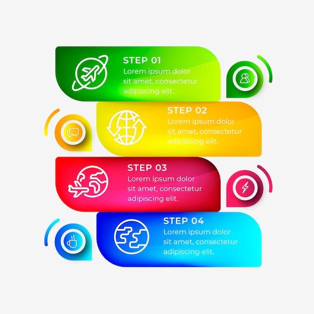 Pasos de gradiente infografía vector gratuito