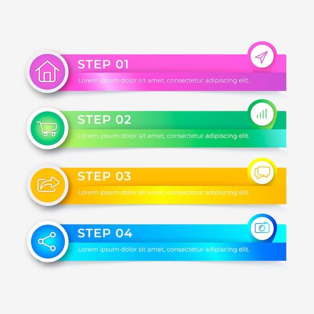 Pasos de gradiente de infografía vector gratuito