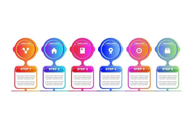 Pasos gradiente de plantilla de infografía vector gratuito