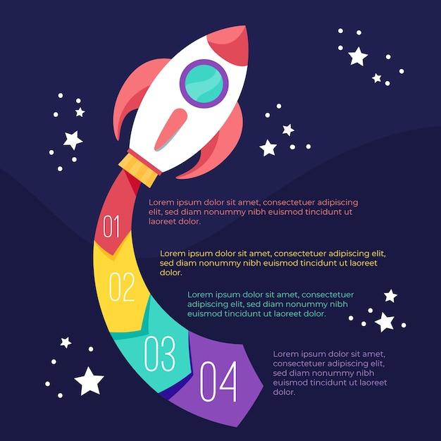 Pasos de infografía con cohete vector gratuito