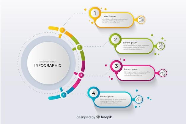 Pasos infografía coloridos diseño plano vector gratuito