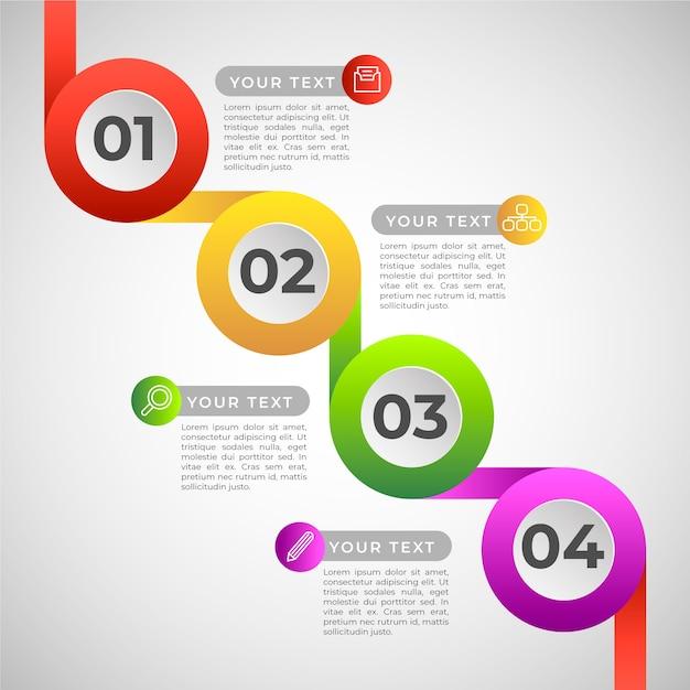 Pasos de infografía degradado colorido vector gratuito