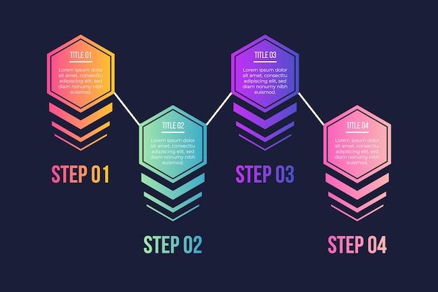 Pasos de infografía gradiente vector gratuito