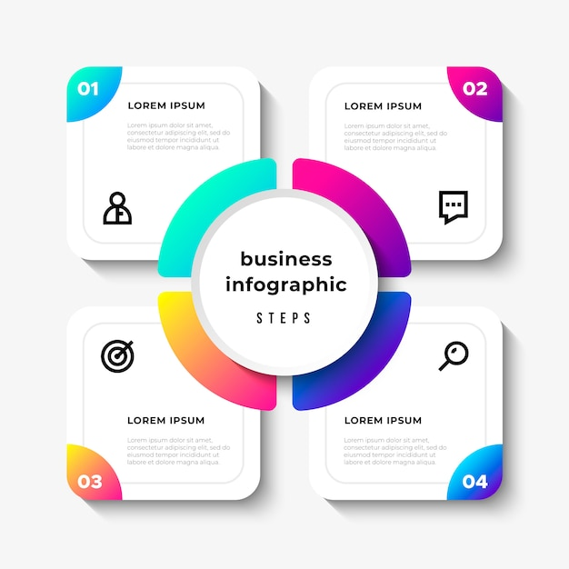 Pasos de infografía de negocios vector gratuito
