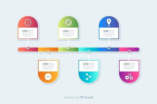 Pasos infografía planos coloridos vector gratuito