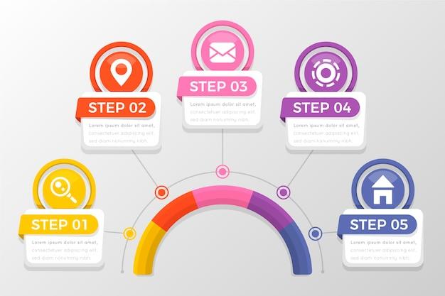 Pasos de infografía profesional plana vector gratuito