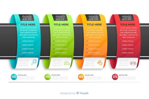 Pasos de infografías coloridas modernas vector gratuito