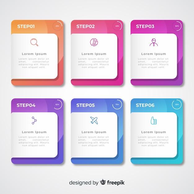 Pasos infográficos coloridos degradados con cuadros de texto vector gratuito