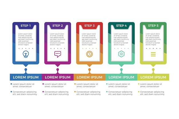 Pasos infográficos de diseño plano Vector Premium