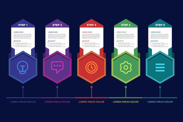 Pasos infográficos de diseño plano vector gratuito
