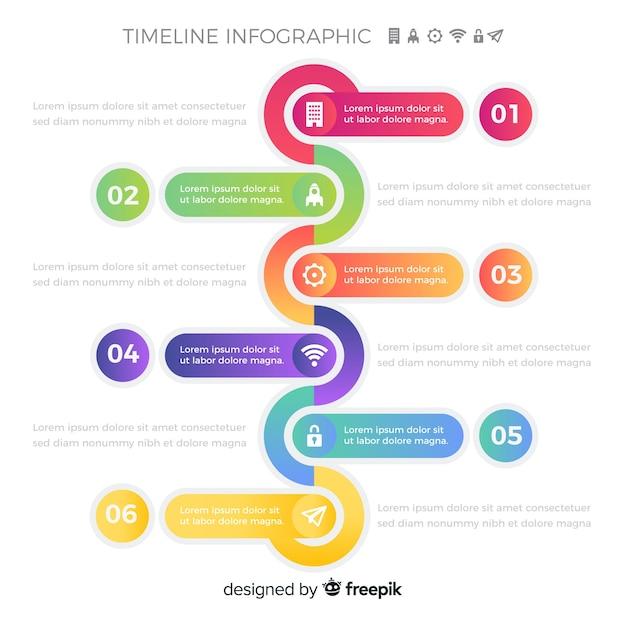 Pasos infográficos de línea de tiempo colorido vector gratuito