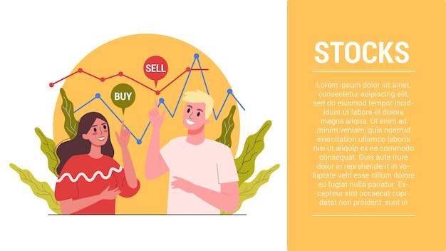 Pasos de inicio. concepto de banner web de mercado de valores. idea de inversión financiera y crecimiento financiero. comercio y economía, empresario analizando gráfico de datos. Vector Premium