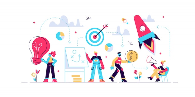 Pasos para una puesta en marcha exitosa, desarrollo exitoso de la estrategia empresarial. concepto de desarrollo profesional, startup business, motivación, la forma de alcanzar el objetivo, cohete, ilustración. Vector Premium