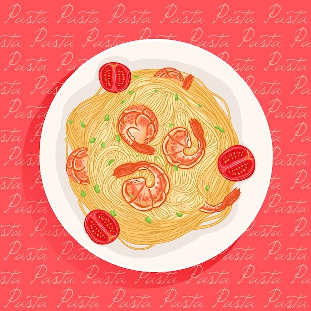 Pasta con camarones Vector Premium