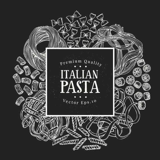 Pasta dibujada a mano. vector pasta tipos ilustraciones en pizarra. comida vintage Vector Premium