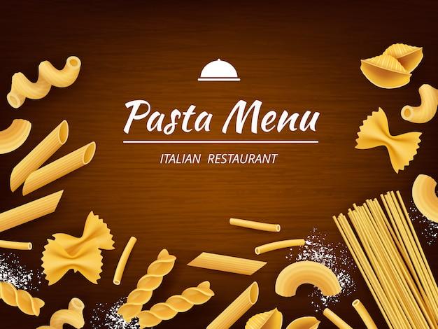 Pasta en la mesa. comida tradicional italiana macarrones espaguetis fusilli con harina blanca para cocinar fondo realista Vector Premium