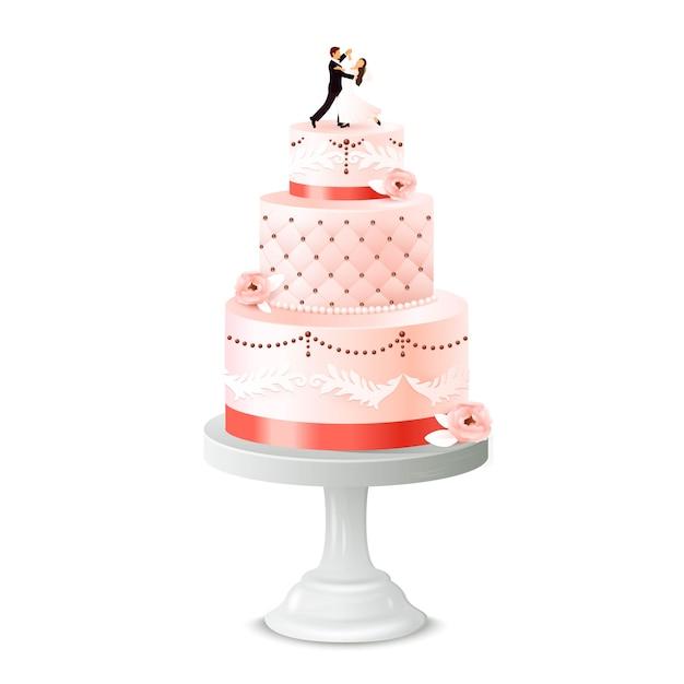 Pastel de bodas con estatuilla de recién casado vector gratuito