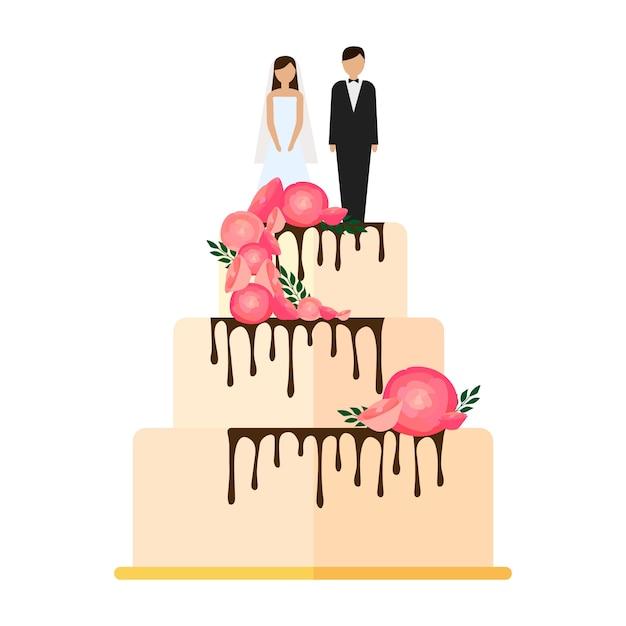 Pastel de bodas con lazos y toppers ilustración de novios en diseño plano Vector Premium