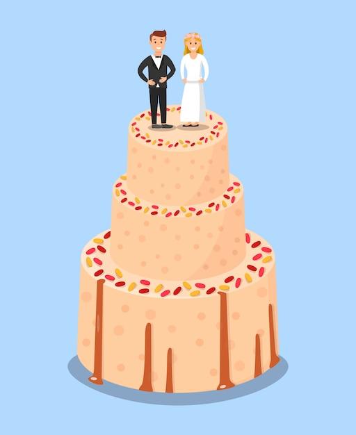 Pastel de bodas con la novia y el novio toppers poster. Vector Premium