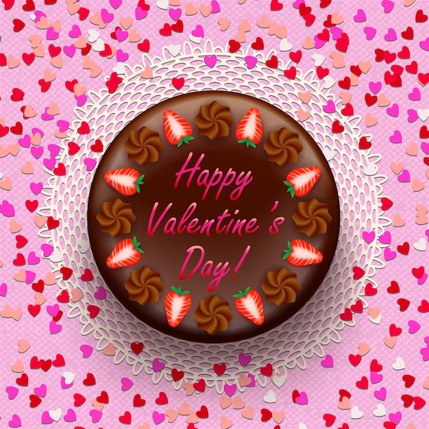 Pastel de cacao y chocolate de san valentín decorado con fresas y confeti. vector gratuito