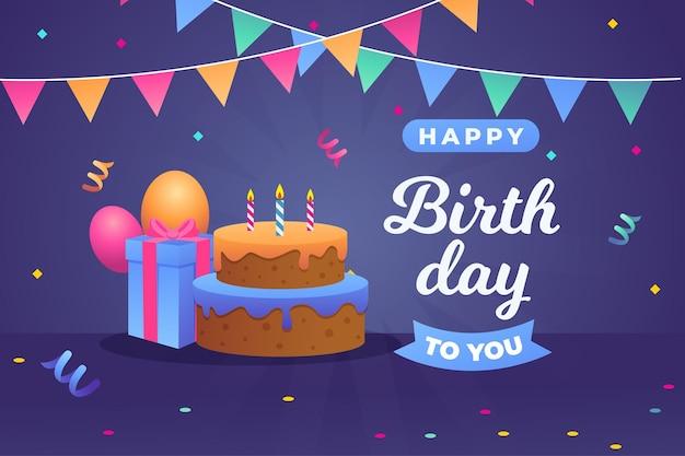 Pastel y caja de regalo de feliz cumpleaños vector gratuito