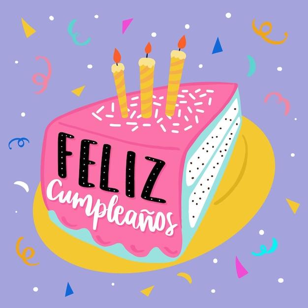 Pastel de cumpleaños con velas vector gratuito