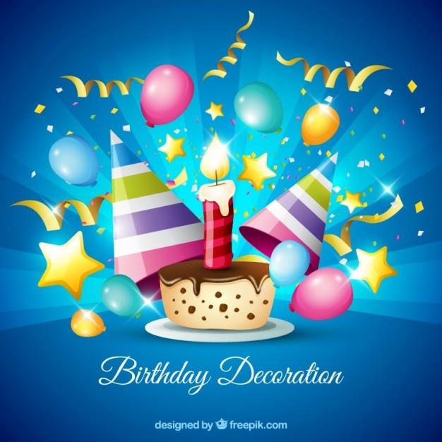 Pastel de chocolate con decoración de cumpleaños Vector Gratis