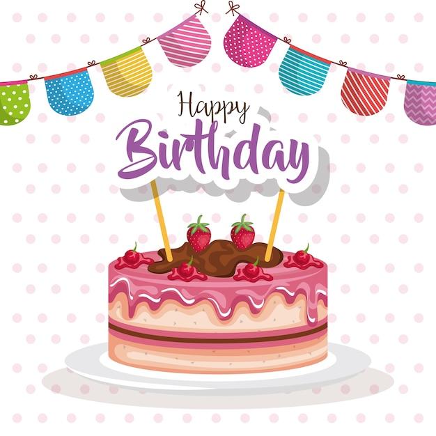 Pastel de feliz cumpleaños con tarjeta de celebración de garland ...