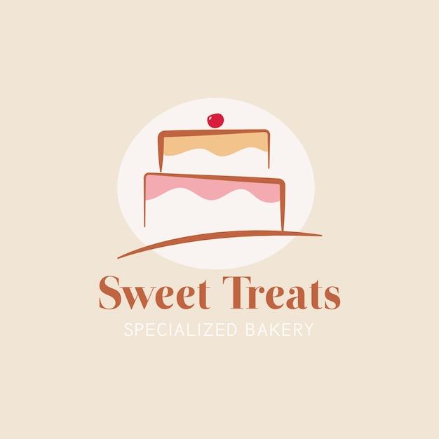 Pastel de panadería estilo logo con pastel Vector Premium